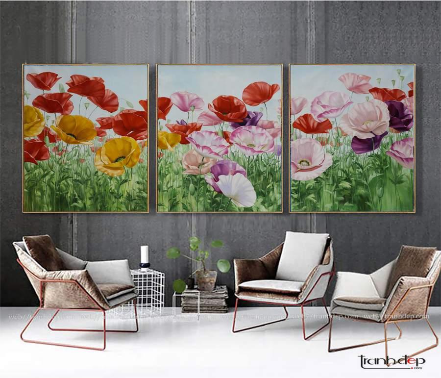 Bộ 3 tranh hoa poppy độc đáo