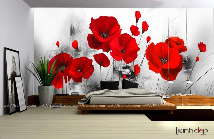 tranh hoa popy cuc dep hien dai diem am khong gian nha