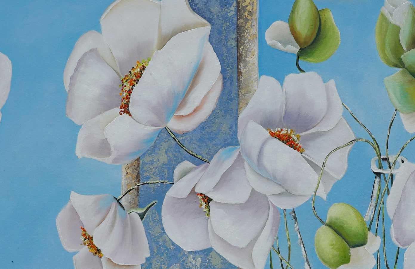 tranh hoa popy treo phong khach nhe nhang tuoi sang