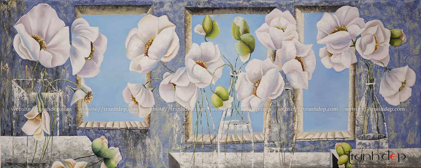 Tổng thể bức tranh hoa poppy