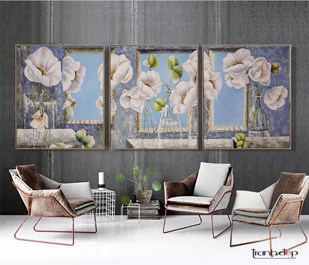 Tranh bộ hoa poppy trắng độc đáo