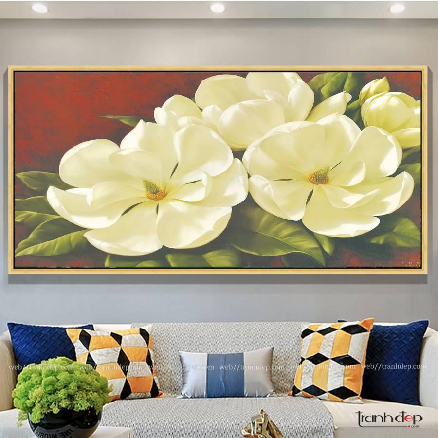 tranh hoa tra tuoi tham cuon hut cho khong gian nha