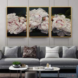 tranh hoa trang tinh khoi dep nhe nhang treo phong khach va dan tuong