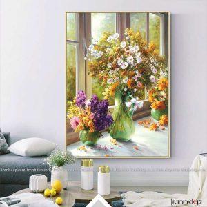 tranh tinh vat nhung binh hoa cuc hoa mi daisy