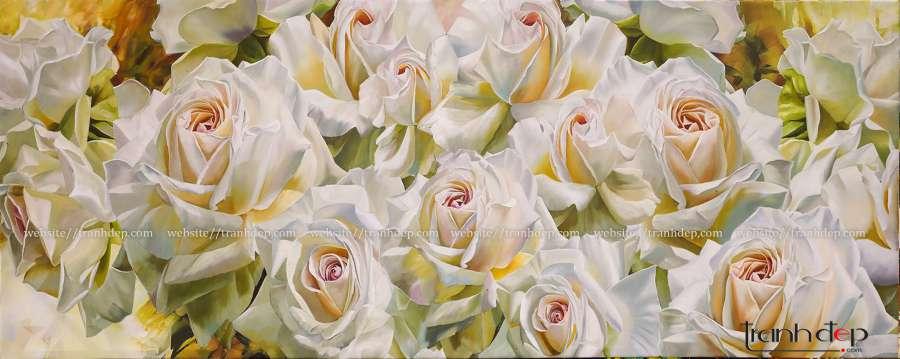 tranh hoa hong treo phong khach phong ngu sang trong