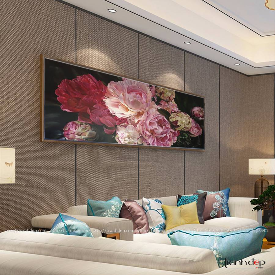 tranh hoa mau don cuc dep treo phong khach va dan tuong