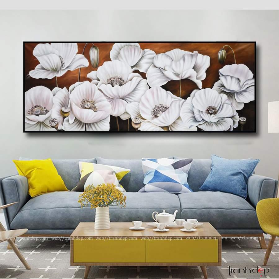 tranh hoa popy treo phong khach sieu dep