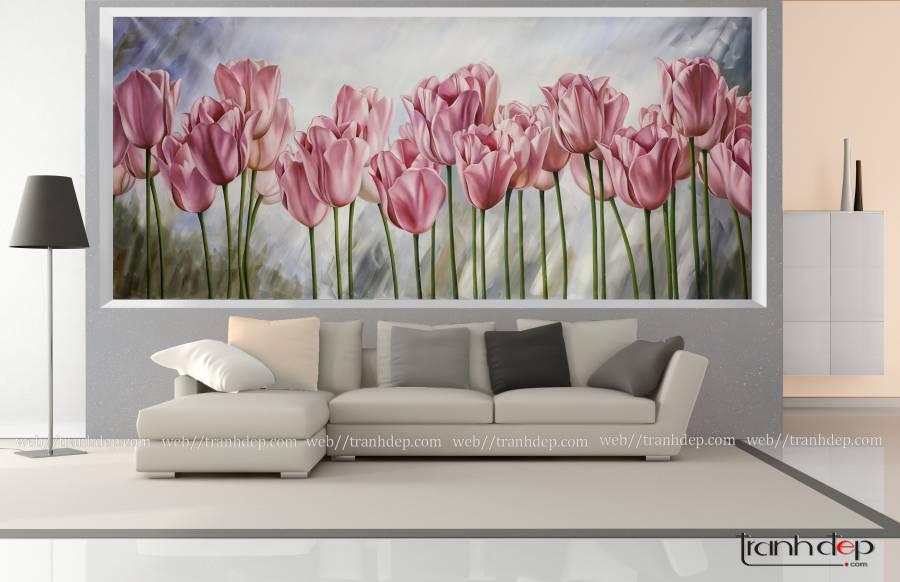 tranh hoa tulip - tranh mừng tân gia