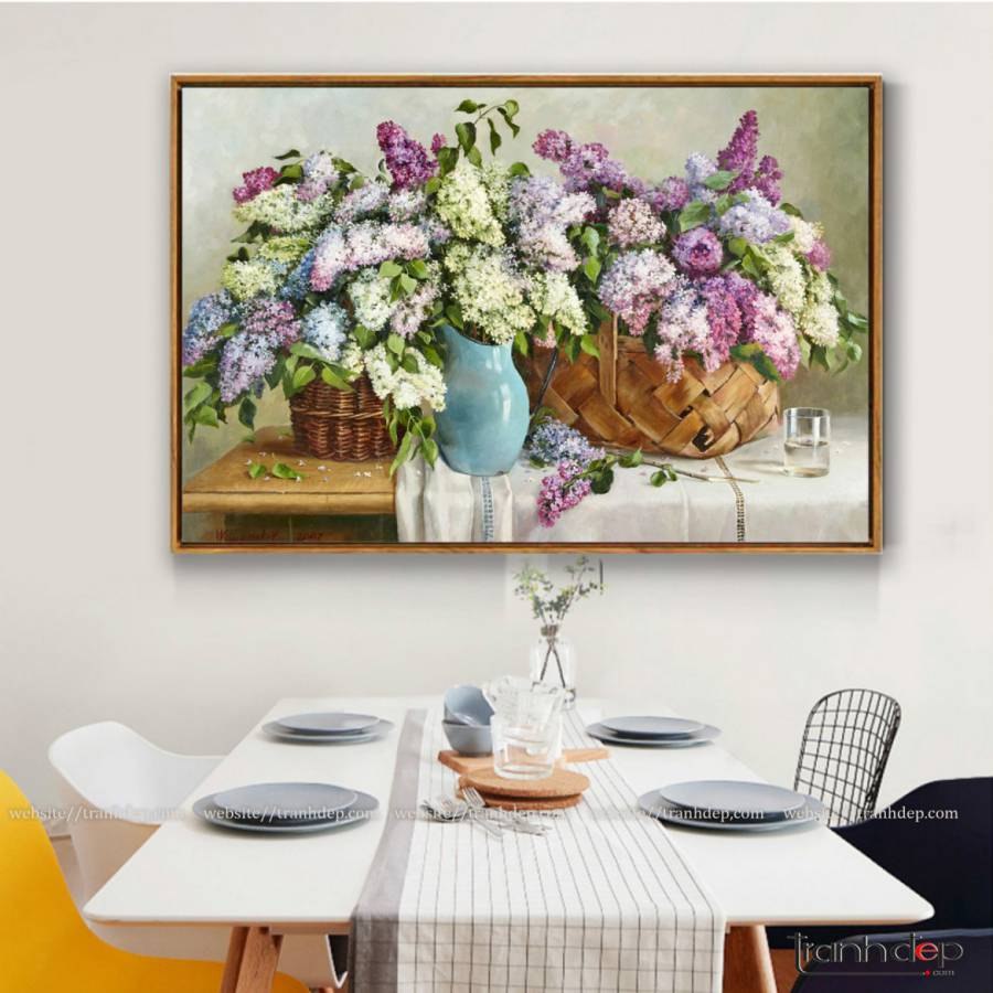 tranh tinh vat ba gio hoa lang man treo phong bep