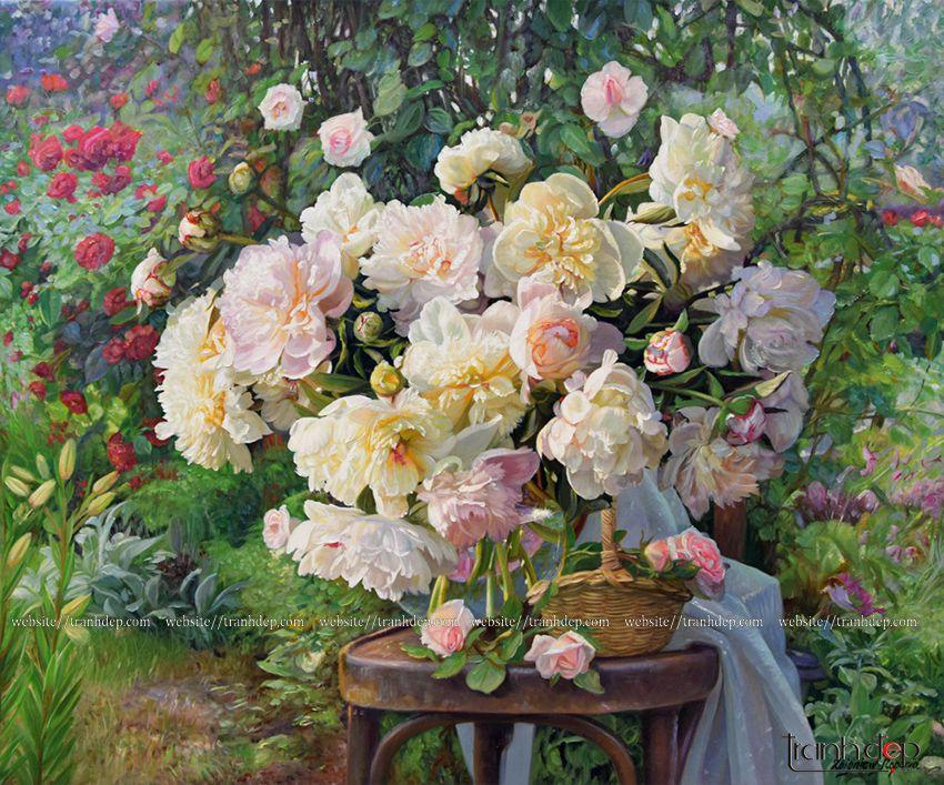 tranh tinh vat hoa hong dep