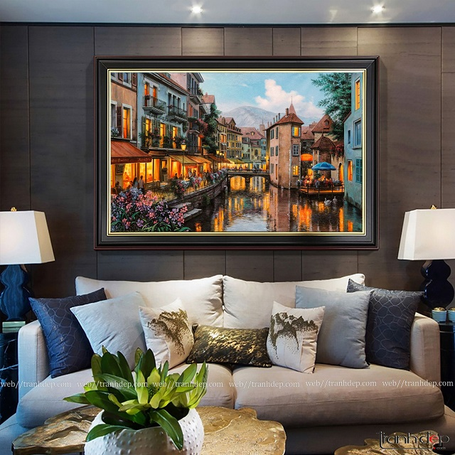 tranh sơn dầu phong cảnh châu âu - tranh trang trí văn phòng