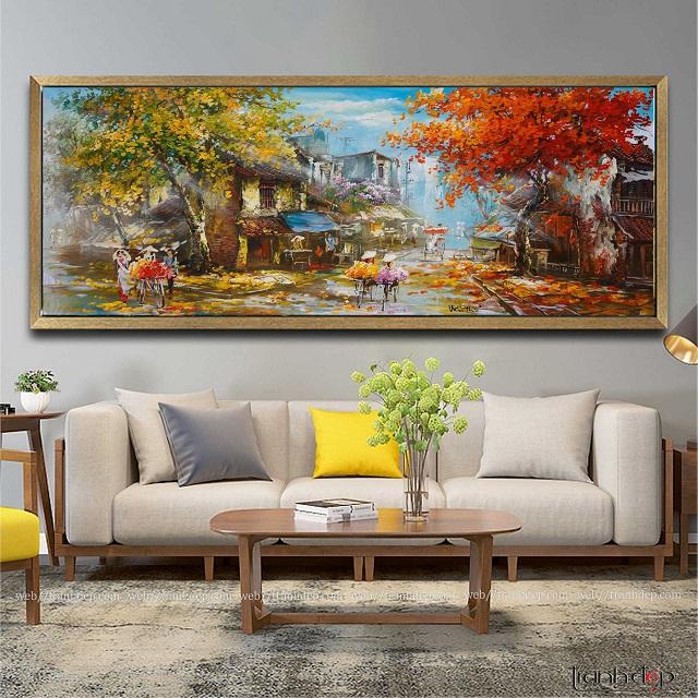 tranh vẽ phố cổ hà nội mùa thu