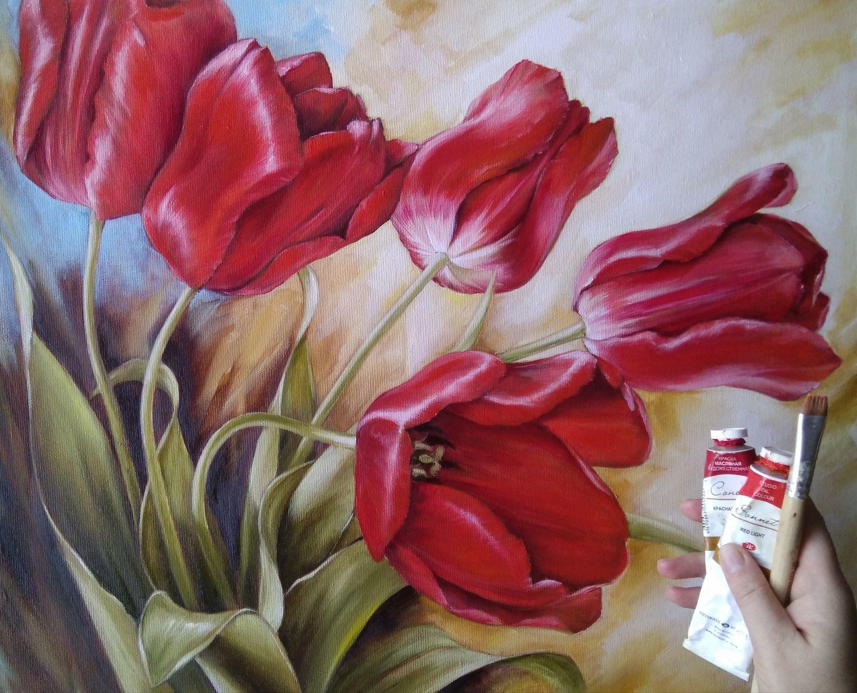 tranh vẽ hoa tulip