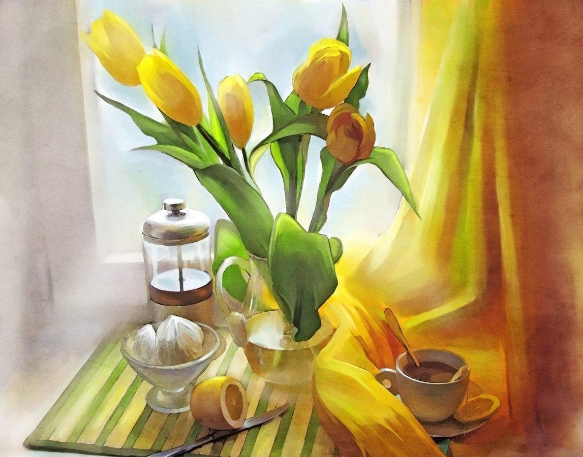 tranh hoa tulip vàng