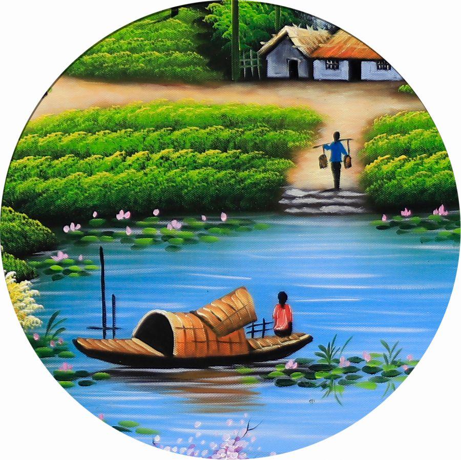 Cận cảnh tranh làng quê với bến sông, con đò