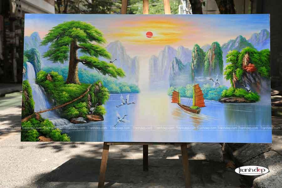 Mẫu tranh sơn thuỷ hữu tình - Nhật xuất thiên sơn