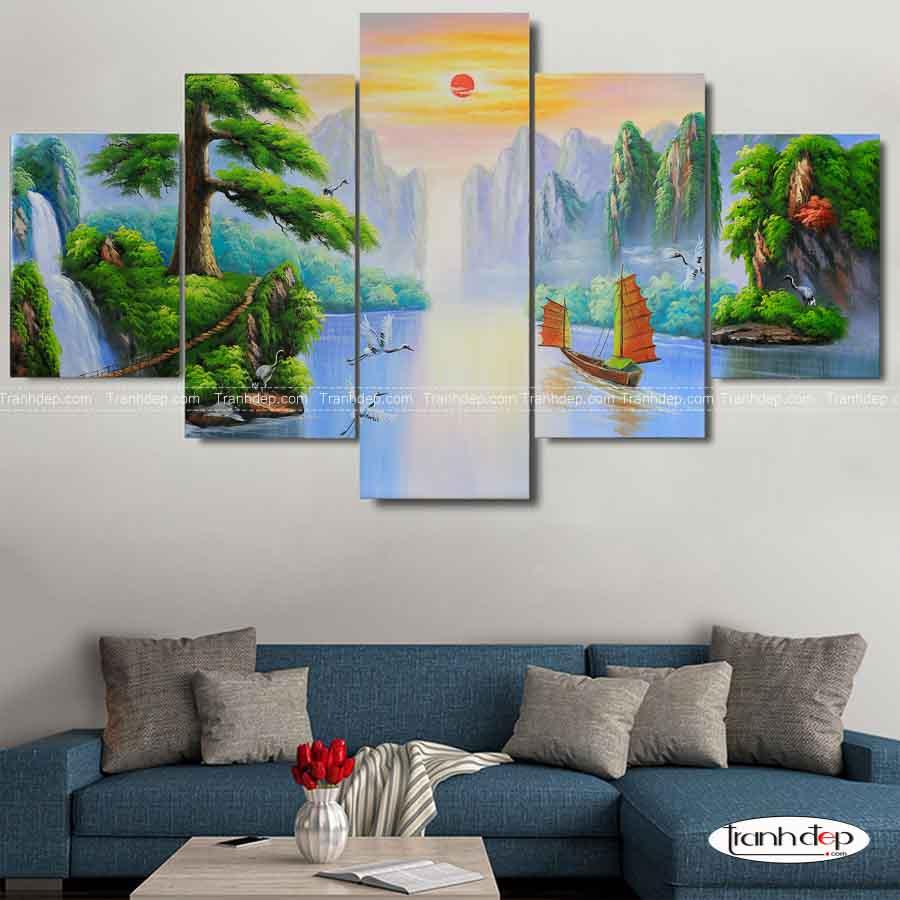 Tranh sơn thuỷ 5 tấm ngũ phúc - treo tường phòng khách hiện đại.
